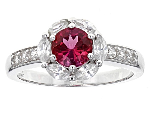 Photo of .62ct Round Lab Created Bixbite With .95ctw Marquise And Round White Zircon Sterling Silver Ring - Size 11