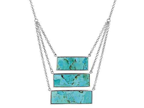Photo of Mixed Baguette Turquoise Sterling Silver 3-Station Necklace - Size 18
