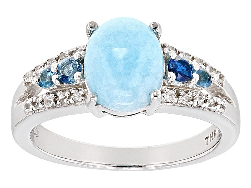 Photo of 1.91ct Hemimorphite With .21ctw London Blue Topaz And .11ctw White Zircon Sterling Silver Ring - Size 7