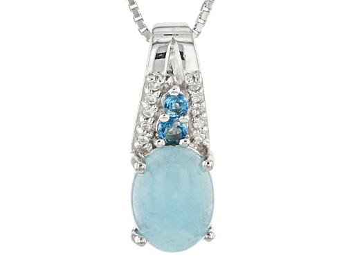 Photo of Oval Cabochon Hemimorphite With .17ctw London Blue Topaz And White Zircon Silver Pendant With Chain
