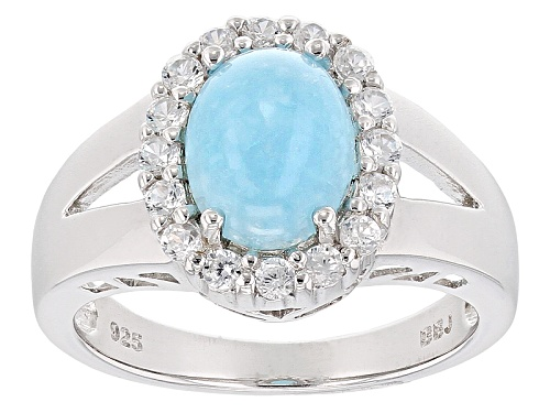 Photo of 9x7mm Oval Blue Peruvian Hemimorphite With .46ctw Round White Zircon Sterling Silver Ring - Size 10