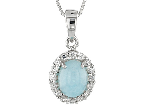 Photo of 1.91ct Oval Hemimorphite And .46ctw Round White Zircon Sterling Silver Pendant With Chain