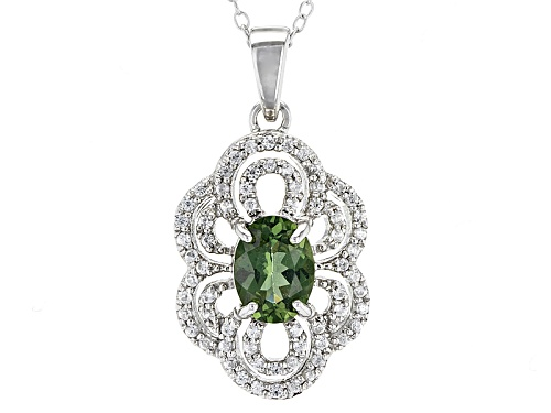 Photo of .97ct Oval Green Apatite With .39ctw Round White Zircon Sterling Silver Pendant With Chain
