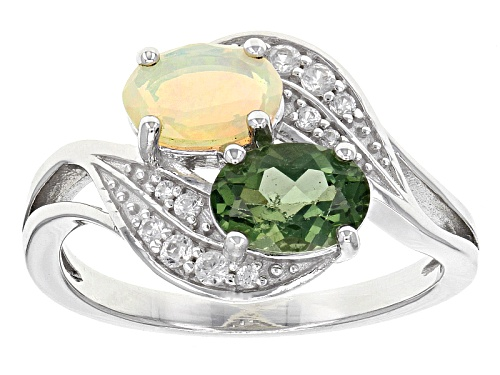 Photo of .63ct Oval Green Apatite, .68ctw Oval Ethiopian Opal, .09ctw Round White Zircon Sterling Silver Ring - Size 8