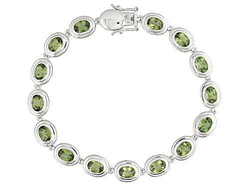 Photo of 9.95ctw Oval Green Apatite Sterling Silver Bracelet - Size 8