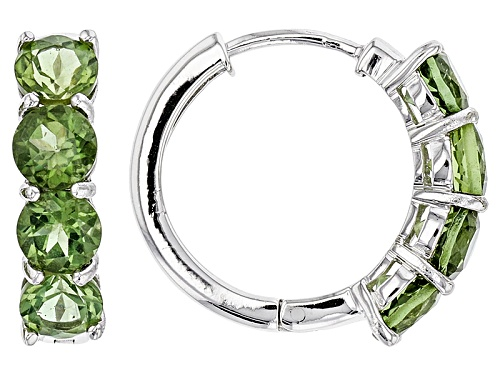 Photo of 3.40ctw Round Green Apatite Sterling Silver Hoop Earrings