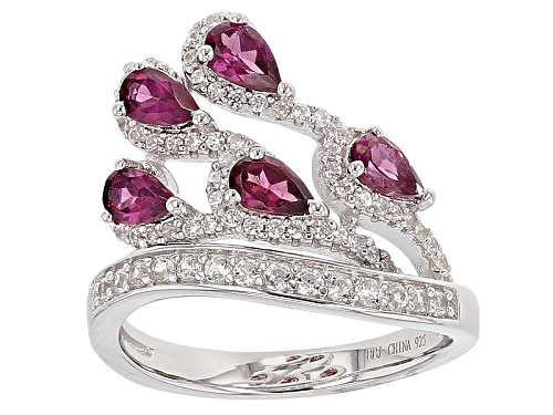 Photo of 1.32ctw Pear Shape Raspberry Color Rhodolite And .52ctw Round White Zircon Sterling Silver Ring - Size 8