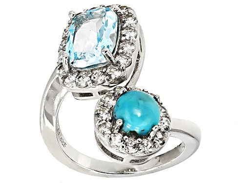 Photo of 2.70ct Rectangular Cushion Glacier Topaz™, Round Blue Turquoise, 1.40ctw White Zircon Silver Ring - Size 8