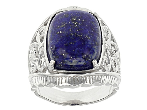 Photo of 16x12mm Rectangular Cushion Cabochon Lapis Lazuli Sterling Silver Ring - Size 5