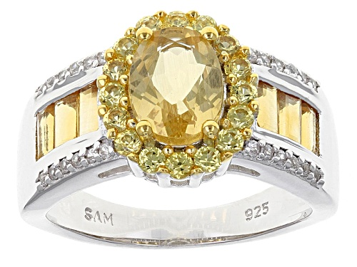 Photo of 1.20ct Oval Yellow Beryl With 1.29ctw Citrine, Yellow Sapphire And White Zircon Sterling Silver Ring - Size 11