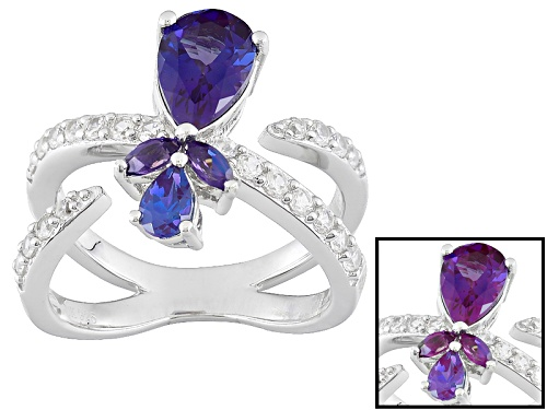 Photo of 1.65ctw Pear Shape And Marquise Lab Created Alexandrite With .65ctw Round White Zircon Silver Ring - Size 7