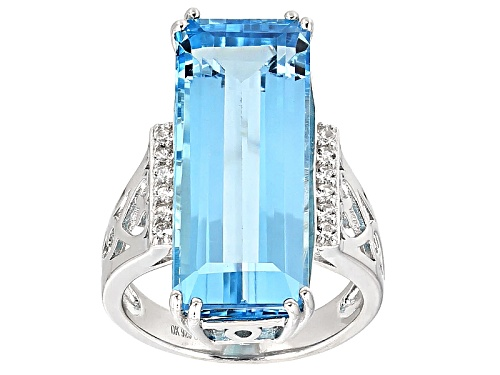 Photo of 16.22ct Emerald Cut Glacier Topaz™ And .21ctw Round White Zircon Sterling Silver Ring - Size 8