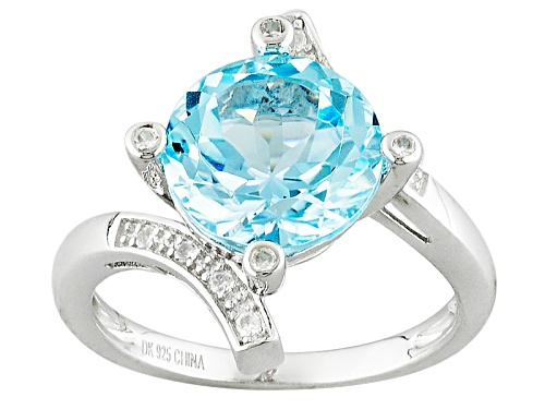 Photo of 4.00ct Round Glacier Topaz™ With .15ctw Round White Zircon Sterling Silver Bypass Ring - Size 8
