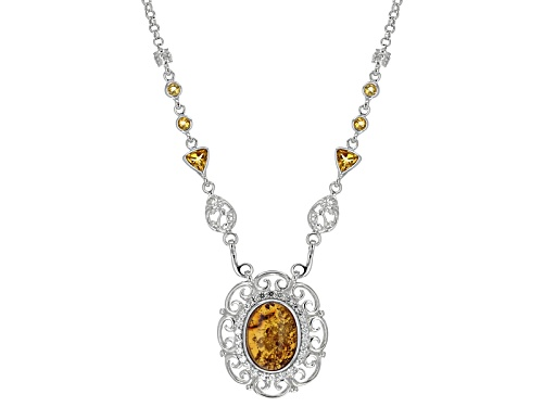 Photo of 16x12mm Oval Orange Amber With .64ctw White Topaz And 1.06ctw Citrine Sterling Silver Necklace - Size 18
