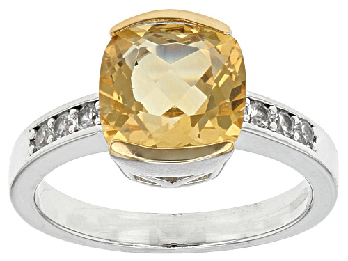 Photo of 3.06ct Square Cushion Brazilian Golden Citrine With .30ctw Round White Zircon Sterling Silver Ring - Size 11