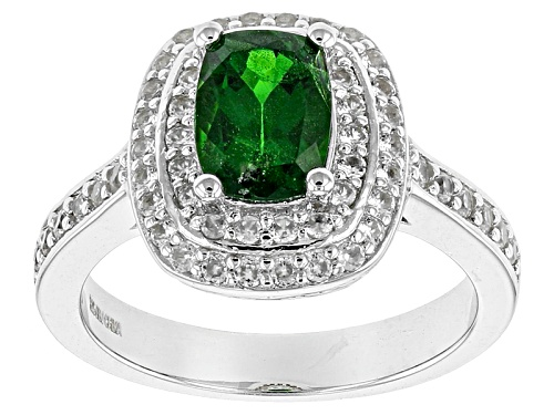 Photo of 1.51ct Rectangular Cushion Russian Chrome Diopside With .86ctw White Zircon Sterling Silver Ring - Size 12