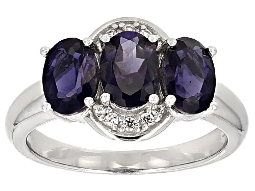 Photo of 1.53ct Oval Iolite With .07ctw Round White Zircon Sterling Silver 3-Stone Ring - Size 8