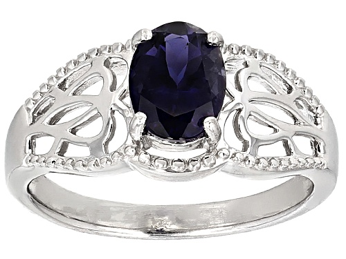 Photo of .85ct Oval Iolite Solitaire Sterling Silver Ring - Size 7