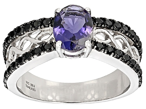 Photo of .85ct Oval Iolite With .50ctw Round Black Spinel Sterling Silver Ring - Size 12