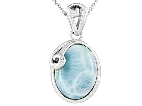 Photo of 16x12mm Oval Cabochon Larimar Sterling Silver Solitaire Pendant With Chain