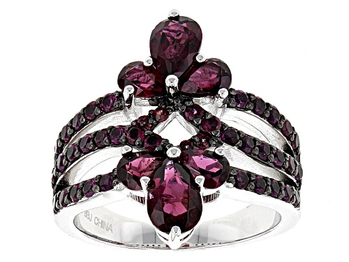 Photo of 1.52ctw Pear Shape And Round Raspberry color Rhodolite Sterling Silver Ring - Size 5