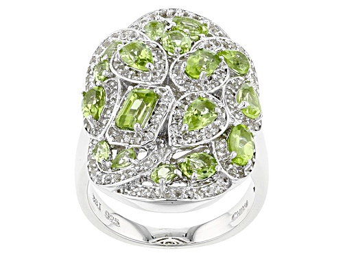 Photo of 2.65ctw Mixed Shape Manchurian Peridot™ And .73ctw Round White Topaz Sterling Silver Cluster Ring - Size 6