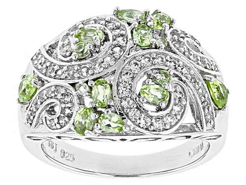 Photo of .92ctw Pear Shape, Oval And Round Manchurian Peridot™, .68ctw Round White Zircon Silver Ring - Size 6
