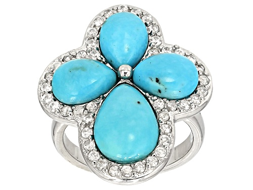 12x8mm And 9x6mm Pear Shape Cabochon Turquoise With .84ctw Round White Zircon Silver Cross Ring - Size 7