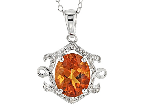 Photo of 1.70ct Oval Brazilian Madeira Citrine With .13ctw Round White Zircon Silver Pendant With Chain