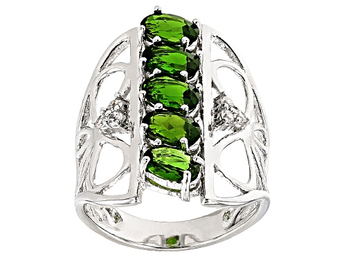 Photo of 1.68ctw Oval Russian Chrome Diopside And .15ctw Round White Zircon Sterling Silver Ring - Size 5