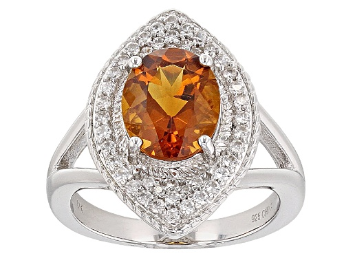 Photo of 1.70ct Oval Brazilian Madeira Citrine With .40ctw Round White Zircon Sterling Silver Ring - Size 10