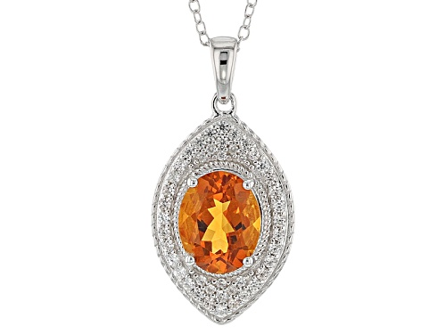 Photo of 1.70ct Oval Brazilian Madeira Citrine With .04ctw Round White Zircon Silver Pendant With Chain