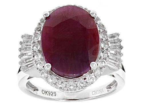 Photo of 9.22ct Oval Indian Ruby And 1.29ctw White Topaz Sterling Silver Ring - Size 9