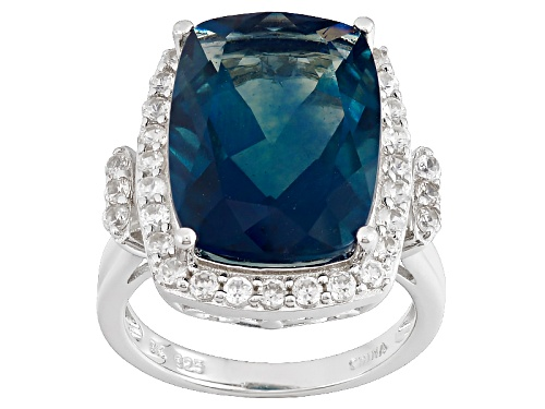 Photo of 10.48ct Rectangular Cushion Teal Fluorite With .73ctw Round White Zircon Sterling Silver Ring - Size 5