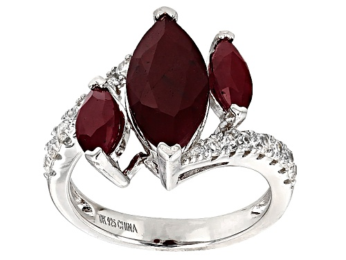 Photo of 4.76ctw Marquise Indian Ruby With .70ctw Round White Zircon Sterling Silver 3-Stone Ring - Size 6
