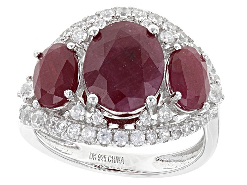 Photo of 4.67ctw Oval Indian Ruby And .73ctw Round White Zircon Sterling Silver 3-Stone Ring - Size 11