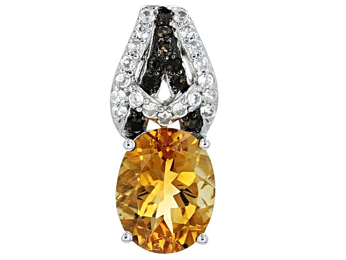 Photo of 1.89ct Oval Madeira Citrine, .06ctw Smoky Quartz And .21ctw White Zircon Silver Pendant With Chain