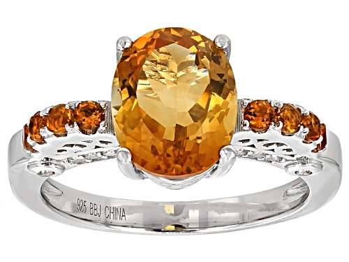 Photo of 2.49ctw Oval And Round Madeira Citrine With .21ctw Round White Zircon Sterling Silver Ring - Size 8