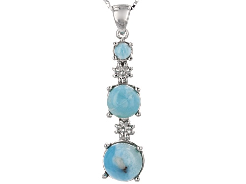 Photo of 9mm And 4.2mm Round With 7mm Squre Cushion Cabochon Larimar Silver 3-Stone Pendant With Chain