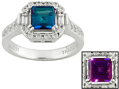 Photo of 1.19ct Square Lab Created Alexandrite With .73ctw Baguette And Round White Zircon Silver Ring - Size 11