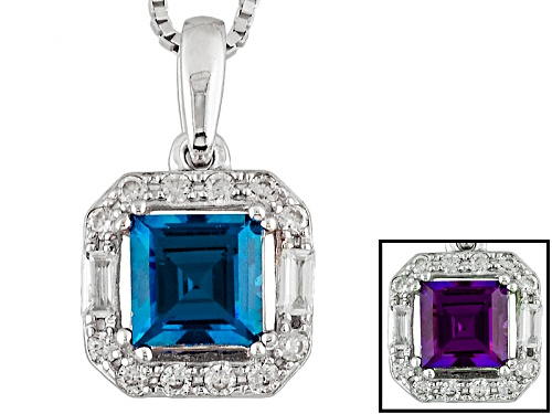 1.19ct Square Lab Created Alexandrite With .33ctw Baguette, Round White Zircon Silver Pendant, Chain