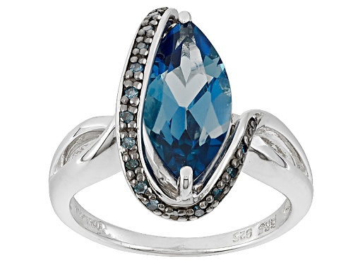 Photo of 2.64ct Marquise London Blue Topaz With .08ctw Round Blue Diamond Accents Sterling Silver Ring - Size 12