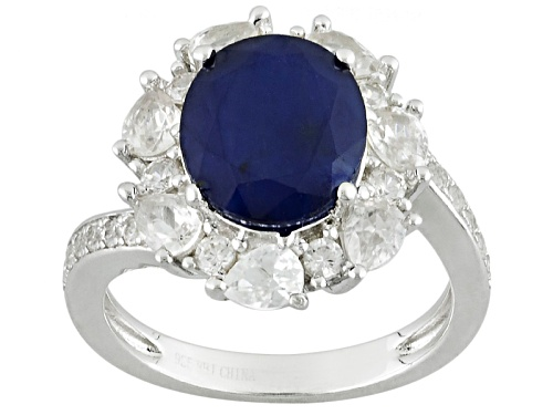 Photo of 3.08ct Oval Blue Sapphire With 1.85ctw Pear Shape And Round White Zircon Sterling Silver Ring - Size 10