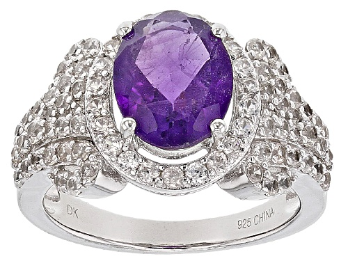 Photo of 2.17ct Oval African Amethyst And 1.89ctw Round White Zircon Sterling Silver Ring - Size 10