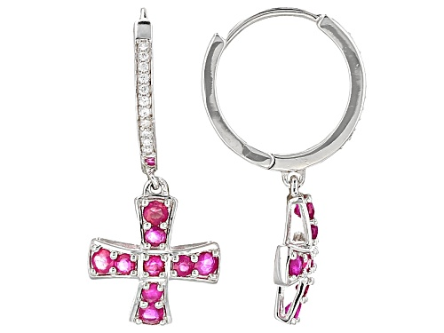 Photo of 1.32ctw Round Mozambique Ruby With .13ctw Round White Zircon Cross Sterling Silver Hoop Earrings
