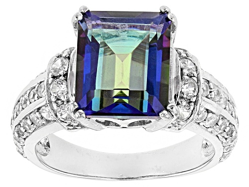 Photo of 3.54ct Multicolor Blue Quartz And 1.12ctw Round White Zircon Sterling Silver Ring - Size 12