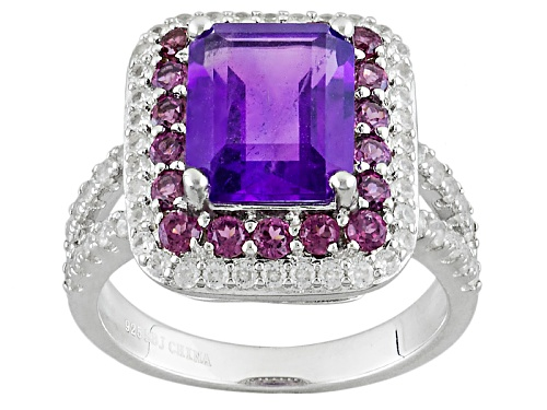 Photo of 2.94ct Emerald Cut African Amethyst, .95ctw Raspberry Rhodolite, .95ctw White Zircon Silver Ring - Size 8