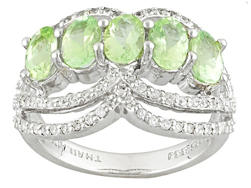 Photo of 1.70ctw Oval Brazilian Amblygonite With .32ctw Round White Zircon Sterling Silver Ring - Size 8
