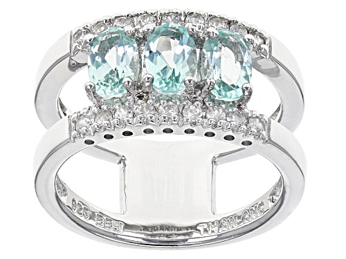 Photo of 1.02ctw Oval Amblygonite With .32ctw Round White Zircon Sterling Silver 3-Stone Band Ring - Size 10