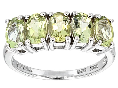Photo of 1.70ctw Oval Green Amblygonite Sterling Silver 5-Stone Band Ring - Size 6